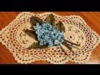 Бутоньерка Незабудки из лент. Цветы из ткани