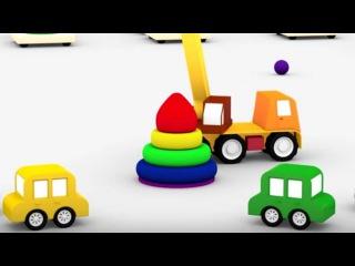 Dört küçük araba ve renkli piramit. Eğitici çizgi flm/animasyon