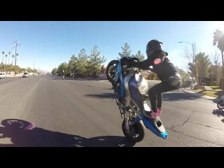 Crazy Stunt Riding Couple goes on a Date in the Streets of Las Vegas