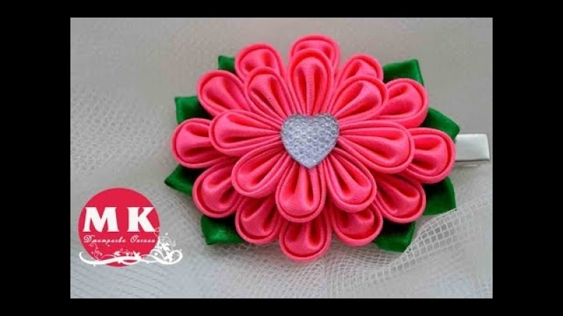 Мастер-класс Канзаши.Цветы из лент.Заколка для волос.Цветок Канзаши/ Flower.