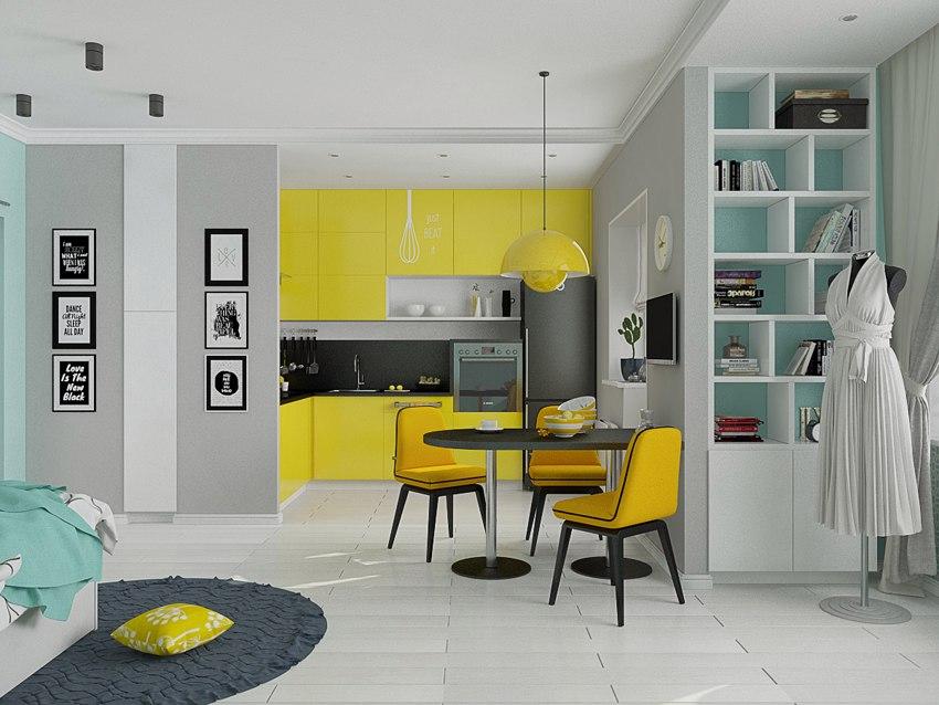 Проект квартиры 43 м с элементами поп-арта.