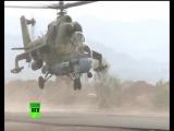 Сирия. Наши Ми-24 зачищают в районе авиабазы ВКС РФ.