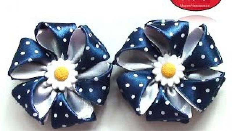 МК Резинки с цветами из атласной ленты. Канзаши. Цветы из лент. DIY Ribbon flower