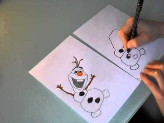 Schneemann Olaf zeichnen malen aus Die Eiskönigin