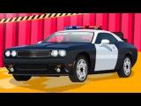 Полицейская машина на автомойке. Городская спецтехника. Смотреть мультик для детей