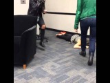 Lucy Hale get scared and fall down again !