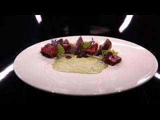 Magret de canard façon « sashimi », chou romanesco et légumes rôtis par Julie Basset (#DPDC)