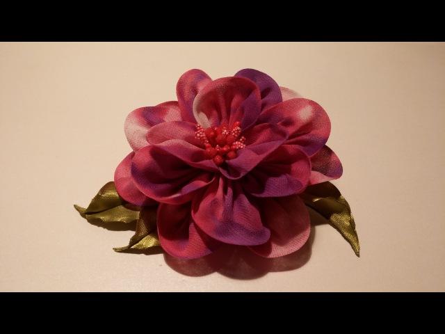 How to make fabric flowers Flower made of chiffon tutorial Цветы из ткани цветок из шифона