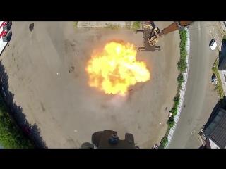 Экспериментатор. Падение композитного газового баллона с 30 метров.