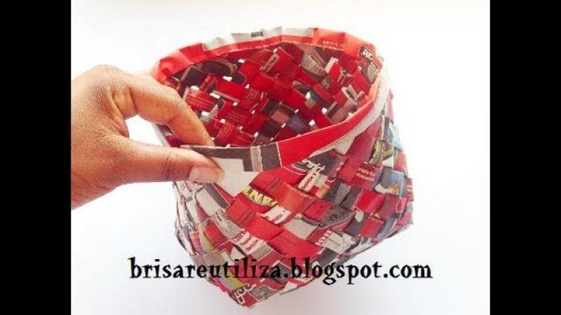 46. Manualidades: Como hacer cesta de papel con tejido inclinado (Reciclaje) Ecobrisa