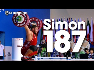 Simon Martirosyan (109.9kg, Armenia, 19y/o) 187kg Snatch 2016 Worlds Weightlifting Championships
