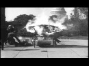 A triphibian aircraft catches fire during its test run in Washington DC. HD Stock Footage