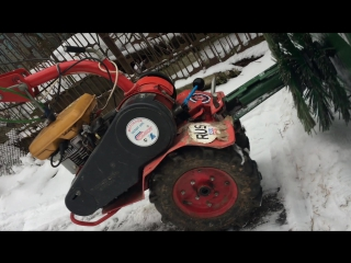 чистка снега мотоблоком салют