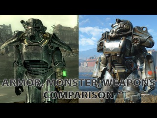 Fallout 3 vs Fallout 4 Comparison (Armor, Monsters, Weapons!)