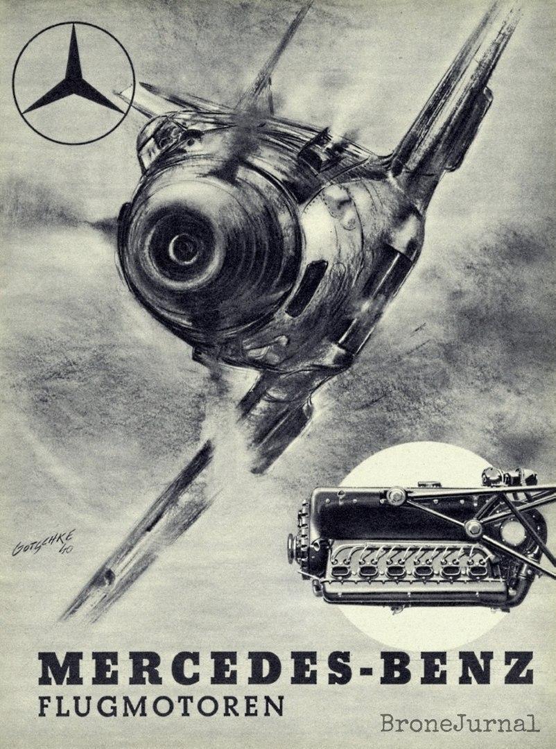 """Messerschmitt Bayerische Flugzeugwerke 109 Emil Люфтваффе, """"вооруженный"""" 33,91-л Daimler-Benz DB 601, Германия '40 г. Mercedes-Benz flugmotoren, 1940 год."""
