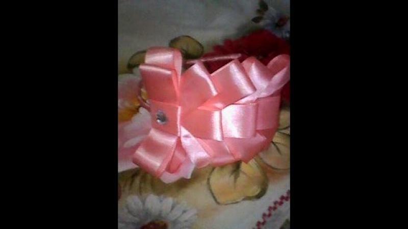 Como fazer tiara com laço de fita de cetim fácil Headband with ribbon lembrancinha artesanato