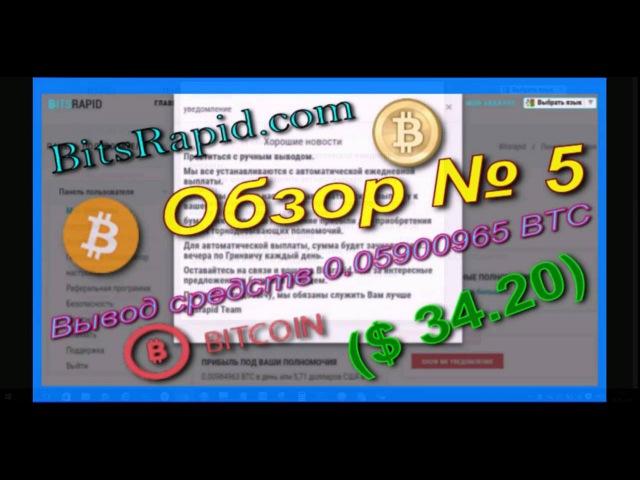 BitsRapid com Обзор № 5 Вывод средств 0 05900965 BTC $ 34 20 Прибыль в день $ 5 71