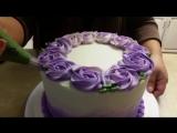 (ТОРТ-РЕЦЕПТ-VK) Торт Омбре с розами, украшение торта розами, оформление торта, Simple ROSETTE OMBRE CAKE. Cake Decorating