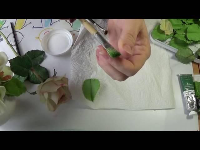 Тонировка листа розы ч.1. МК от Риты. Tinted leaves roses. MK by Rita