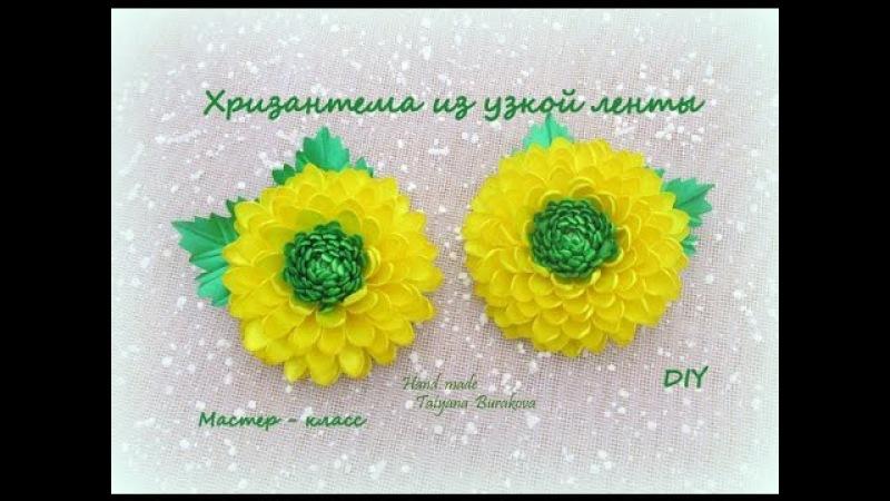 Хризантема из узкой ленты МК /Ribbons Chrysanthemum/DIY Kanzashi flower