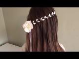 Плетение ножнички с лентой / Прически для девочек /  Scissorwaterfall braid with ribbon (Nauhallinen saksivesiputousletti)