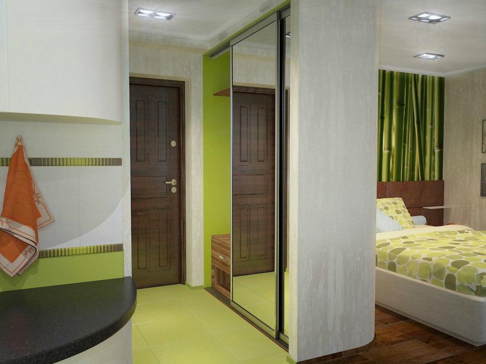 Проект студии из 1-комнатной квартиры 34,5 м (+ лоджия 7 м).