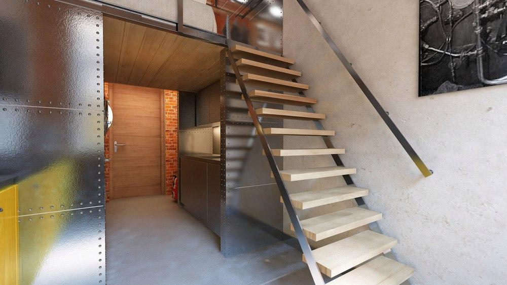 Двухуровневая студия 17 м (+ 6 м), высота потолка 4 м.