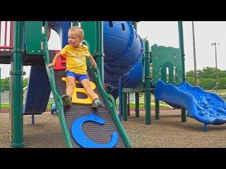 Maxim playing at kids playground & having fun video for children adults toys superhero entertainment