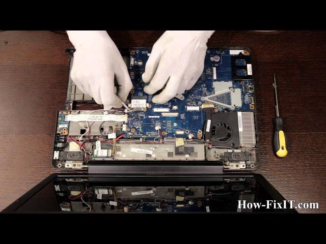 Toshiba Satellite L500 разборка и чистка ноутбука от how-fixit.com
