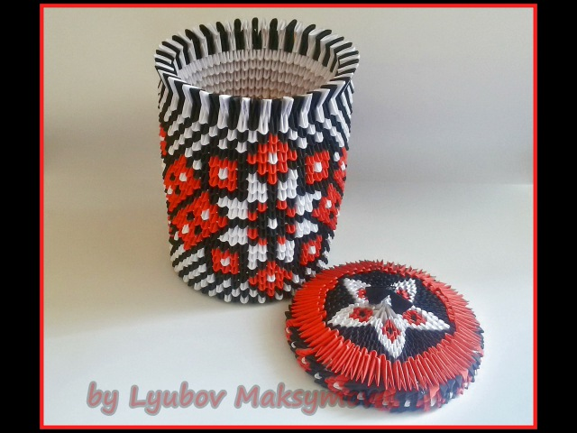 3D origami paper vase (fancy box, box for chocolate) with Ukrainian patterns