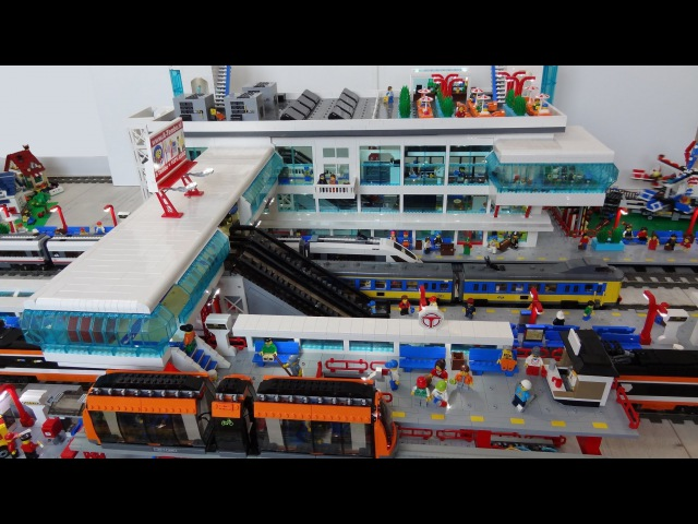 Huge Lego train station MOC of 25000 bricks with Lego monorail and bus platforms
