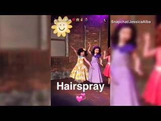 Jessica Alba films her daughters' play of 'Hairspray'