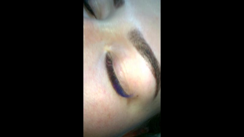 Двойной объём изгибом D с добавлением цветных ресниц и ресниц омбре(синие,фиолетовые,розовые)