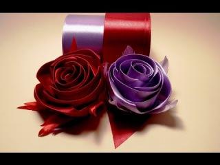 Ribbon flowers how to make:rose from satin ribbon/tutorial/Цветы из лент:роза из атласной ленты/МК