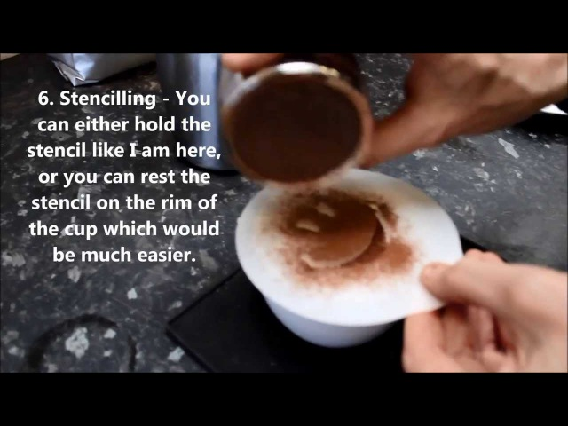 How to stencil a cappuccino coffee with fresh milk