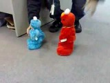 My Tickle Me Elmo and Tickle Me Cookie Monster at work~