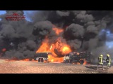 Горящие бензовозы ИГИЛ после авиаудара Burning fuel trucks