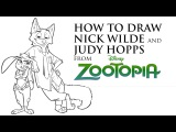 HOW TO DRAW DISNEY CHARACTERS - NICK WILDE AND JUDY HOPPS from ZOOTOPIA - EASY