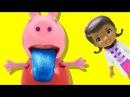Свинка Пеппа ест карандаш Доктор Плюшева на медосмотре в школе Мультик из игрушек - Серия 72