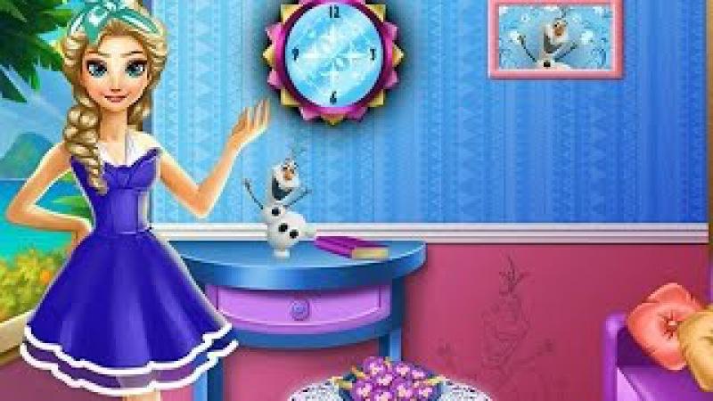 NEW Игры для детей—Disney Принцесса Эльза уборка в комнате—мультик для девочек