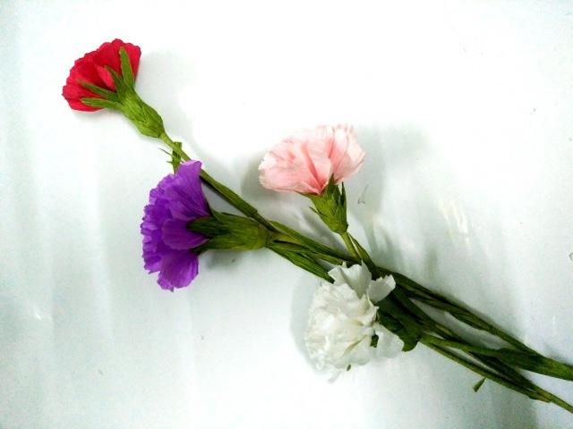 D.I.Y - How to make paper flower - carnations - Làm hoa cẩm chướng bằng giấy nhún