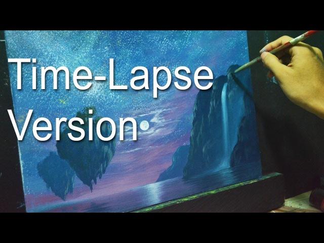 Time-Lapse Acrylic Painting Demo - Fantasy Moonlight by JMLisondra