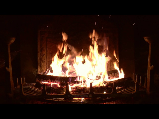 Потрескивающий камин. Crackling Fireplace with Thunder, Rain and Howling Wind Sounds (HD)