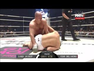Федор Емельяненко нокаутом побеждает Джадипа Сингха в первом бою после возвращения