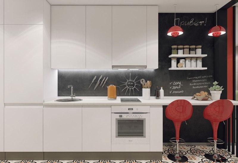 Проект прямоугольной студии 35 м с переносом кухни и спальней на ее месте.