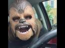Woman Happy to Wear Chewbacca Mask
