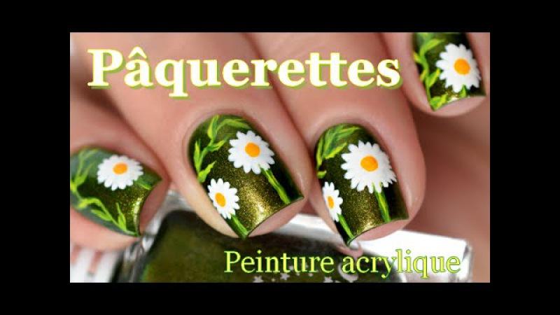 [ Nail Art ] Pâquerettes - Easy Daisy Nails Tutorial with acrylic paint melyne nailart
