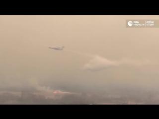 Помощь с воздуха: самолет Бе-200 тушит пожары в Амурской области