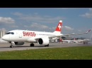 SPECTACULAR ARRIVAL of SWISS 1st Bombardier CSeries CS100 at Zurich
