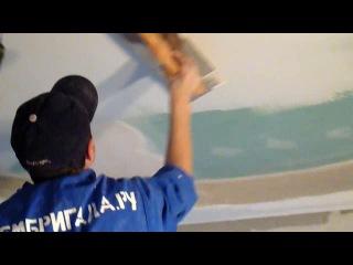 Видео с сайта www.rembrigada.ru шпатлевание потолка из гипсокартона